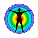 Powerful man. Silhouette of a powerful man spreading arms and legs in a circle like Vinci drawing vector illustration