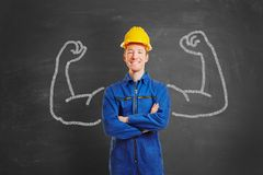 Powerful man as construction worker royalty free stock photography