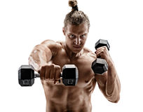 Powerful man doing boxing exercises, making direct hit with dumbbells. Photo of sporty muscular male on white background. Strength and motivation stock photos