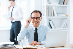 Powerful man at his workplace. Royalty Free Stock Photography