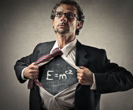 Powerful man. A man with a writing on his chest stock image
