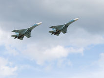 Powerful military Su-30 flying in the sky Stock Photography