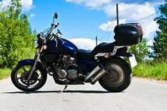 Powerful motorcycle. Is a powerful motorcycle in the middle of the road Royalty Free Stock Image