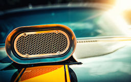 Powerful muscle car. Closeup photo of the hood Royalty Free Stock Images