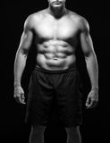 Powerful muscular body in black-and-white Stock Photos
