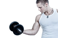 Powerful muscular man. Lifting weights, isolated on white - colorized photo Royalty Free Stock Photos