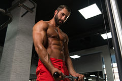 Powerful Muscular Man Exercising Biceps On Cable Machine Royalty Free Stock Photos