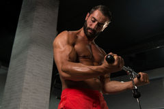 Powerful Muscular Man Exercising Biceps On Cable Machine Stock Image
