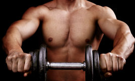 Powerful muscular man holding workout weight royalty free stock image