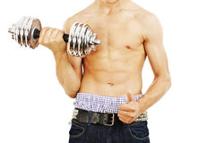 Powerful muscular man lifting weights. Isolated on white background Royalty Free Stock Image