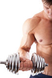 Powerful muscular man. Lifting weights Royalty Free Stock Image