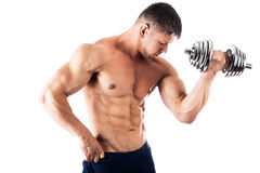 Powerful muscular man. Lifting weights Royalty Free Stock Photography