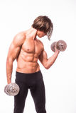 Powerful muscular man lifting weights. Against white background Stock Photos