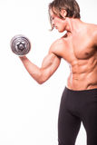 Powerful muscular man lifting weights. Against white background Royalty Free Stock Images