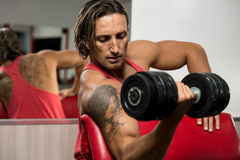 Powerful Muscular Man Lifting Weights. Men In Gym Exercising With Dumbbells Stock Images