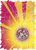 Powerful music rays.Dance party poster. Vector illustration Stock Photography