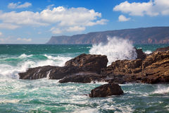 Powerful Ocean Waves crushing on a rocky coast Royalty Free Stock Images