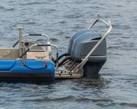 Powerful outboard motors at the stern of the speed boat. Royalty Free Stock Photos