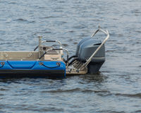 The powerful outboard motors at the stern of the speed boat Royalty Free Stock Photos
