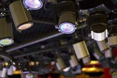 Powerful projectors in modern night club Royalty Free Stock Photo