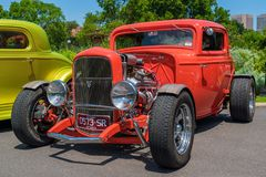 Powerful red hot rod Ford car. At Victorian Hot Rod & Cool Rides Show in Melbourne, Australia Royalty Free Stock Image