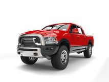 Powerful red modern pick-up truck. Isolated on white background stock illustration