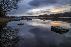 Powerful Reflection On The Shores Of Coniston Water royalty free stock images