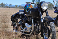 Street machine road motorbike in outback bush Stock Images