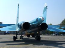 Powerful Russian military jet fighter plane on the runway of the SU-34 two jet turbine engine stock images