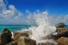 Powerful sea wave is split about stone Stock Images