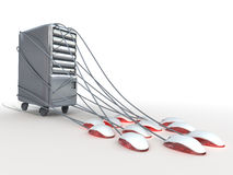 Powerful server which is connected to many  computer mouses. Conceptual illustration Stock Image