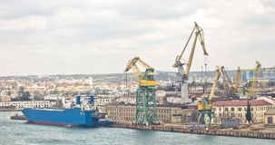 Powerful shipbuilding shipyard Royalty Free Stock Images