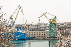 Powerful shipbuilding shipyard Stock Photography