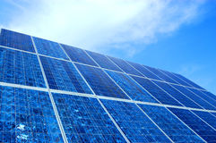 Powerful silicium solar cell. View of a polycristaline silicium solar pannel. these are the most powerful solar energy sytems. the picture show the cristal Stock Photos