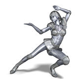Powerful silver heroine rescues the world Royalty Free Stock Photography