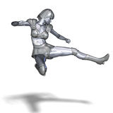 Powerful silver heroine rescues the world Royalty Free Stock Photo