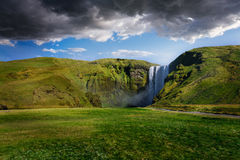 Powerful Skogafoss Waterfall in Iceland Royalty Free Stock Photography