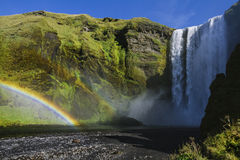 Powerful Skogafoss Waterfall in Iceland Stock Photography
