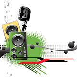 Powerful sounds. Abstract colorful background with microphone shape, two loudspeakers, black bubbles and green arrows. Music concept Royalty Free Stock Photo
