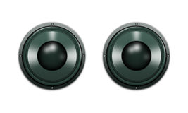 Powerful speakers. Two speakers isolated on a white background Royalty Free Stock Photo