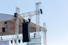 Powerful stage concert audio. Setting up a stage lighting and sound equipment before the concert Stock Images