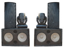 Powerful stage concerto audio speakers and spotlight projectors Stock Photos