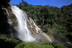 Powerful stream waterfall in rainforest with rainbow, Chiang Mai Royalty Free Stock Images