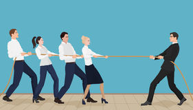 Powerful strong businessman competing with group of businessmen office people team. Playing tug of war battle Royalty Free Stock Photography