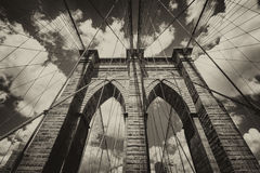 Powerful structure of Brooklyn Bridge Center Pylon on a beautifu Royalty Free Stock Images