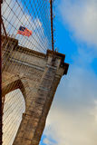 Powerful structure Brooklyn Bridge Center Pylon on a beautiful summer day Royalty Free Stock Photos