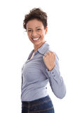 Powerful successful young business woman in a blue blouse and a Stock Photography