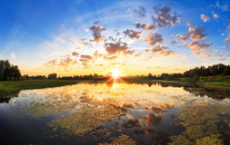 Powerful sunrise lake Royalty Free Stock Photos