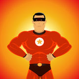 Powerful Super Hero. Illustration of an impressive powerful cartoon super hero Stock Photos