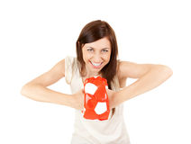 Powerful teenage girl with ball Royalty Free Stock Photos